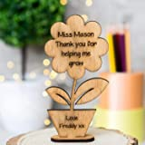 Fancy Craft Personalised Teacher Gift Thank you for helping me grow Student School Nursery (Oak Plywood)