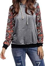 Forthery Women's Hoodie Sweatshirt S Long Sleeve Print Pullover Crop Top Blouse