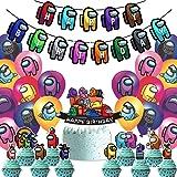 Cumpleaños Decoracion de Among Us ITNP 31 PCS Banner de feliz cumpleaños Globos Cumpleaños para Among Us Globos Pancarta de F