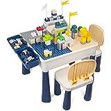 AMOSTING Table Enfant avec 2 Chaises Bleues, Table de Jeux Enfant Réglable 100 Pièces de Blocs de Construction Petite Table A