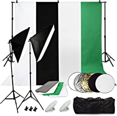 OUBO - Fotostudio Set Studioleuchte Studiosets mit 4x Fotohintergrund 1.6mx3m (schwarz 2xweiß grün) Hintergrundsystem 2x50*70CM Softbox 5 in1 Reflektor 2x LED Fotolampe 3x Studioklemmern 2x Tragtasche
