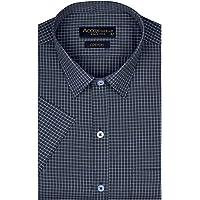 ACCOX Men's Half Sleeves Formal Regular Fit Cotton Check Shirt(Dark Blue,GO552)