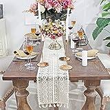 """DÉCOCO 9.5""""x 71"""" Chemin de Table Rectangle Crochet Dentelle Élégante Nappe Creuse Maille pour Boho Rustique Décor De Mariage"""