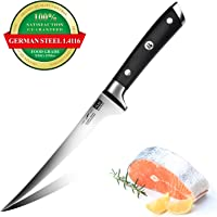 SHAN ZU Filleting Knife 7 inch - Edge Deboning Fish and Meat, Professional Fish Knife in Super Sharp Carbon Stainless Steel - Classic Series