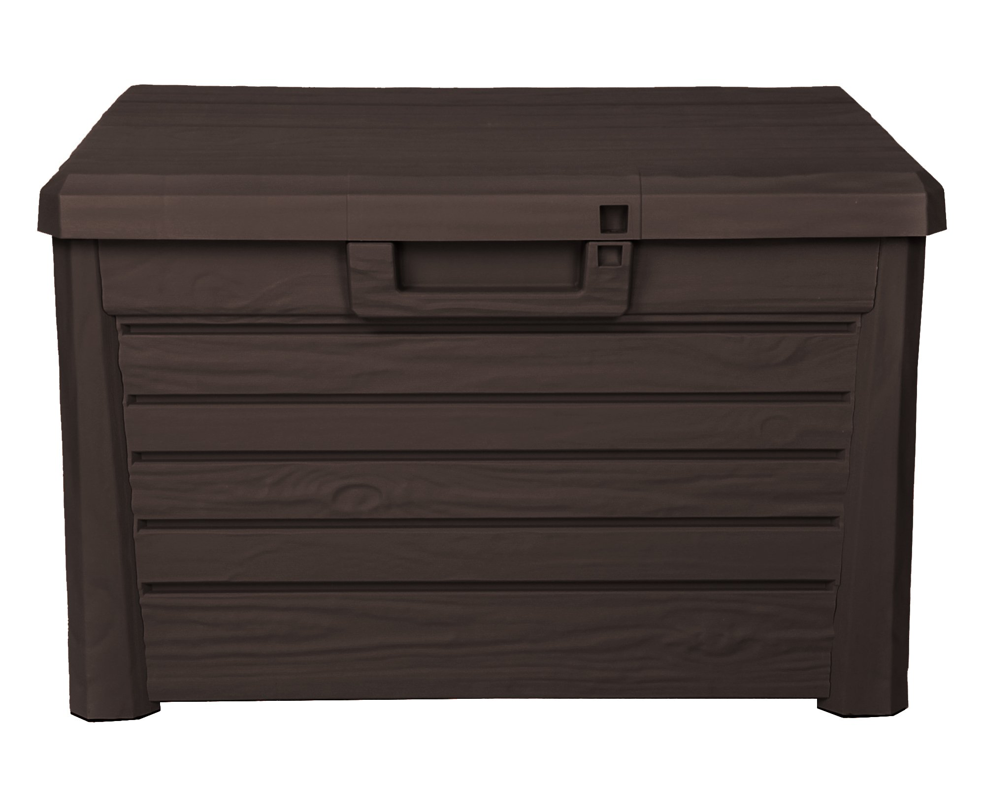 Toomax Kissenbox #Z158 braun 120 Liter Inhalt Holz Optik – mit Sitzfläche 200 kg Tragkraft – abschließbar