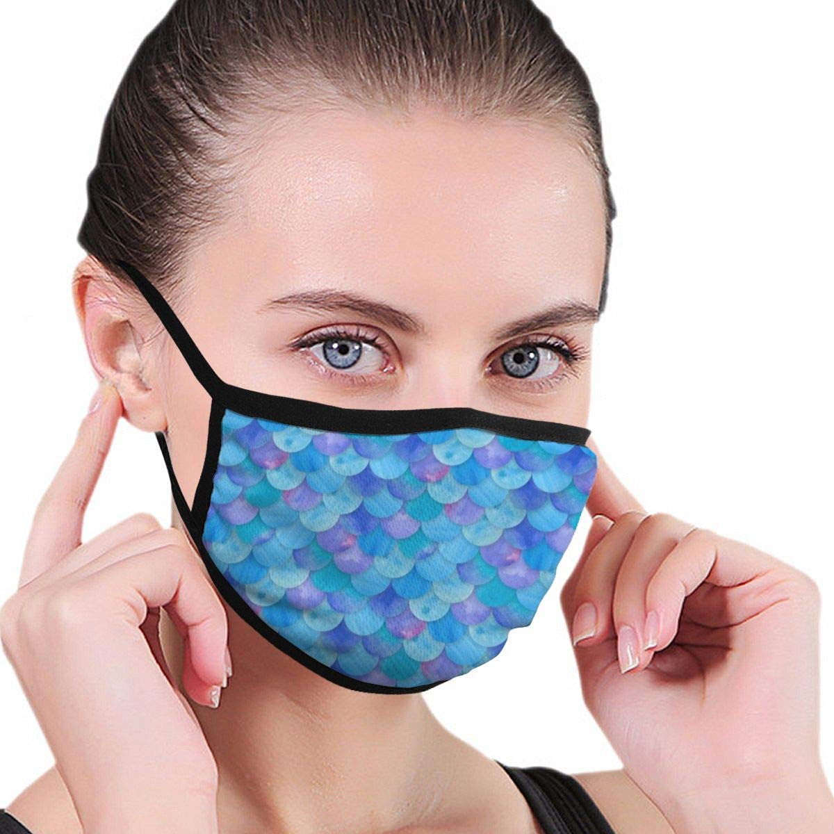 Bdwuhs Mascarillas Bucales Blue Mermaid Scale Washable Reusable Mouth Mask Cotton Anti Dust Half Face Mouth Mask For Men Women Dustproof with Adjustable Ear Loops