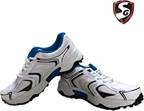 SG Scorer Rubber spikes Cricket Shoes (White/Blue)