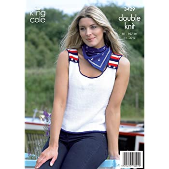 King Cole Chunky Knitting Pattern 3431 Ladies Sweater /& Sleeveless Top