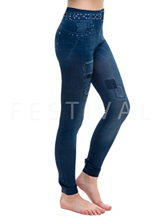 785f663d3a392 dmp Womens Denim Printed Jean Leggings Skinny Stretchy High Waist Jeggings  Pants Tights Trousers: Amazon.co.uk: Clothing