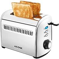 AICOOK Grille Pain Inox 950W - 2 Large Fente Toaster Vintage 7 Niveaux de Brunissage Avec Fonctions de Décongelation, de…