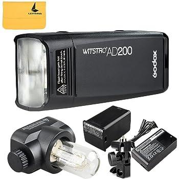 Godox AD200 TTL 200Ws 2.4G HSS 1/8000 Pocket Flash Light Doppia Testa con 2900mAh Litio Batteria e Custodia per Canon Nikon Sony DSLR Fotocamera(AD200)