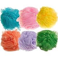 BEAUTRISTRO Round Bath Sponge Loofah for Women and Men (Random Colour) Set of 6
