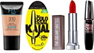 Maybelline New York Date Night Makeup Kit -  Fit Me Foundation Tube Sun Beige + Hypercurl Mascara Washable + Colossal Kajal +