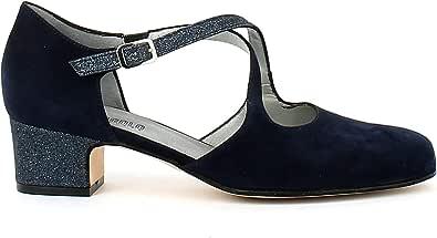 L'ANGOLO CALZATURE - Scarpa da Ballo in camoscio Blu con Glitter