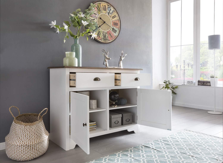 Wohnling Mayla Sideboard, Massivholz, Weiß, 110 x 85 x 45 cm