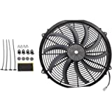 Madlife Garage Universal High Performance 16'' 12V Slim Electric Cooling Radiator Fan With Fan Mounting Kit (Black)