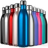 BICASLOVE Bottiglia Termica, Bottiglia per Vuoto in Acciaio Inossidabile,Design a Doppia Parete, Bocca Standard, per Corsa, P
