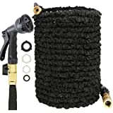 JAMIEWIN 100FT Garden Hose Pipe - Extendable Hose Pipes for Garden 8 Pattern Spray Nozzle Expandable Black Magic Hosepipes So