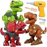 Dinosaurios Juguetes con Taladro Eléctrico, Juego Construccion Puzzle Dinosaurios Incluyen Tiranosaurio Rex, Velociraptor y T