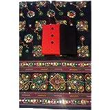 Sheetal Online Women's Cotton 1 Top (Red), 1 Bottom (Black), 1 Dupatta (Black) Unstitched Dress Materials (Free Size)
