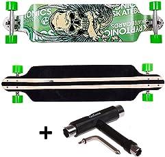 FunTomia® DropDown Longboard Skateboard Board Skaten Cruiser Komplettboard mit Mach1® High Speed Kugellager mit und Ohne LED Rollen, aus Ahornholz und T-Tool