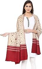 Pashtush Women's Wool Shawl Jaal with handmade embroidery palla