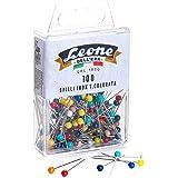 Leone Dell'Era 100 alfileres de acero inoxidable con cabeza de plástico de colores (0,60 x 32 mm) - Caja para colgar, colores