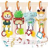 Babyspeelgoed voor 0, 3, 6, 9, 12 maanden, Handbells Baby-rammelaars met bijtringen Zacht pluche Vroege ontwikkeling Kinderwa