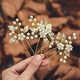 Mayelia Perlen Braut Hochzeit Haarnadeln Gold Haarspangen Blatt Kopfschmuck Braut Haarschmuck für Frauen und Mädchen (2 Stück
