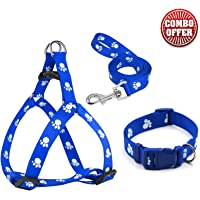 Petlicious & More 15 mm Paw Print Nylon Puppy Collar Harness & Leash Set for Small & Medium Dogs (Color May Vary) - Pack…