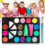 Skymore Ansiktsfärg, ansiktsmålningskit, 14 färger sminkpalett, barnsminkset med 2 neonfärger, 2 borstar, 2 glitter och 4 sva
