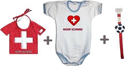 Zigozago–Set WM Schweiz bestehend aus Lätzchen + Body + Schnullerband 50-56 cm