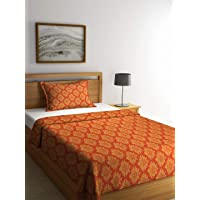 Klotthe Orange Cotton Single Bed Cover with Pillow Cover
