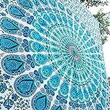 RAJRANG Indien Mandala Wandbehang Indisch Pfau Wandteppich Türkis grün Wandtuch Baumwolle Floral Turquoise Tapestry