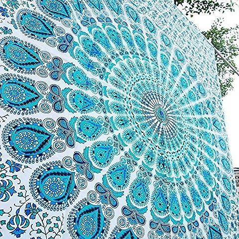 Tapestry Mandala Indian Peacock Blue Mandala blanket