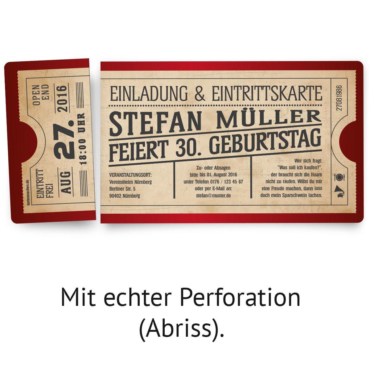 Einladungskarten Zum Geburtstag (10 Stück) Als Eintrittskarte Im Vintage  Ticket Look In Rot: Amazon.de: Bürobedarf U0026 Schreibwaren