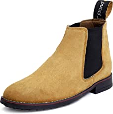 Bacca Bucci Mens 6 inches Premium Chelsea Real Leather Suede Outdoor Slip-on Boots/Warranted Qualtiy & Durable Boot-Black