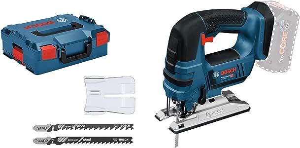 Bosch Professional 18V System Akku Stichsäge GST 18 V-LI B (Bügelversion, Schnitttiefe in Holz/Alu/Metall: 120/20/8 mm, 3 Stichsägeblätter, Spanreißschutz, ohne Akkus und Ladegerät, in L-BOXX)