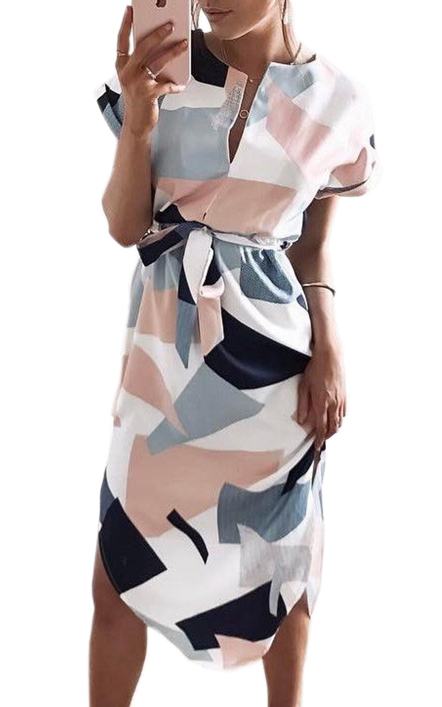 ECOWISH Sommerkleider Damen Kurzarm V Ausschnitt Strand Blumen Kleider Abendkleid Knielang
