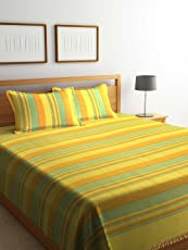 Dhrohar Classy Hand Woven Cotton Double Bed Cover with 2 Pillow Covers -Yellow