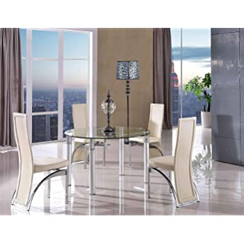 9e0f6d0c5772 MODERN FURNITURE DIRECT Torino Designer Extending 74 cm -120 cm Round Glass  Dining Table