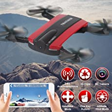 JXD 523 Tracker Foldable Selfie Drone With HD Camera, Wifi, Quadcopter With Altitude Hold (Red)