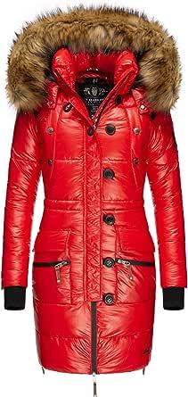 Navahoo Cappotto invernale da donna, trapuntato, con pelliccia sintetica rimovibile, Zucchero, XS-XXL