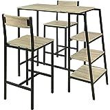 SoBuy® OGT16-N Set de 1 Table + 2 Chaises Ensemble Table de Bar Bistrot + 2 Tabourets de Bar avec Repose-Pieds Table Haute Cu