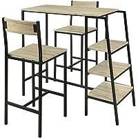 SoBuy® OGT16-N Set de 1 Table + 2 Chaises Ensemble Table de Bar Bistrot + 2 Tabourets de Bar avec Repose-Pieds Table…
