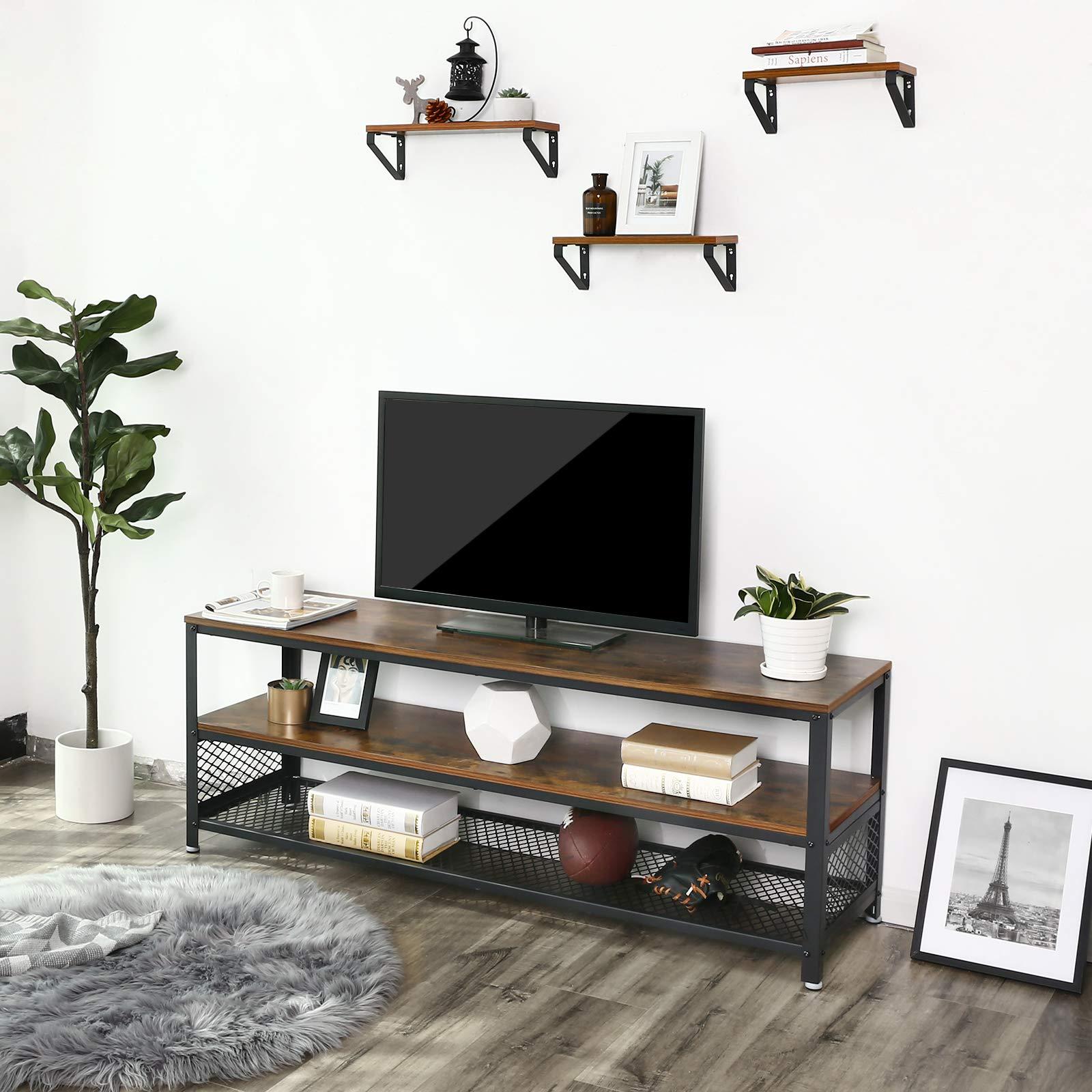 Vasagle Meuble Tv Vintage Modele Long Table Basse Table De Salon Armature Metallique Texture Bois Pour Chambre Salon Brun Rustique Ltv50bx