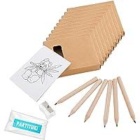 Partituki 10 Packs de Coloriage. Chacun avec 6 crayons de couleur, 1 Cahier avec Dessins et 1 Taille-crayon. Idéal comme…