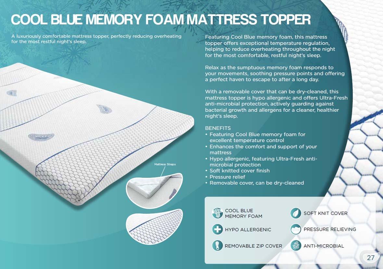Sareer Cool Blue Memory Foam Topper - Single 3ft: Amazon.co.uk: Electronics