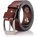 BeComfy Cinturón de cuero para Hombres - 100% cuero verdadero | De ancho 38 mm | Jeans de cinturón de los hombres