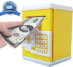 Sceva Speaking ATM Money Piggy Bank Machine Safe for Kids for Coin/Bills with Smart Electronic Lock (Multicolour)